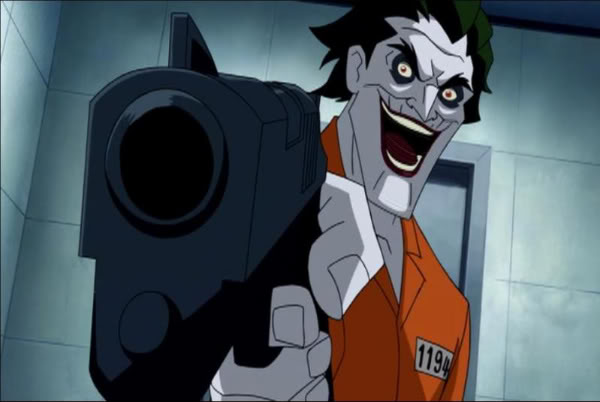 The Joker, pointing all the guns at you in Batman: Under the Red Hood